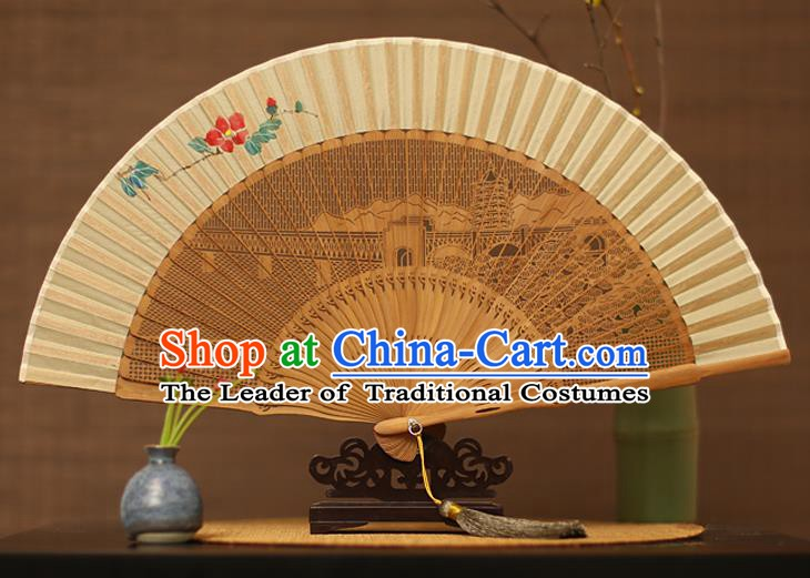 Traditional Chinese Crafts Hand Painting Flower Silk Folding Fan, China Handmade Hollow Out Bamboo Fans for Women