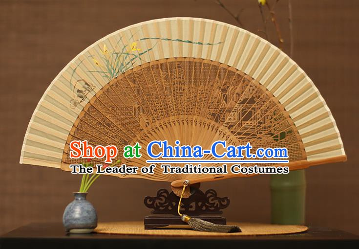 Traditional Chinese Crafts Hand Painting Orchid Silk Folding Fan, China Handmade Hollow Out Bamboo Fans for Women