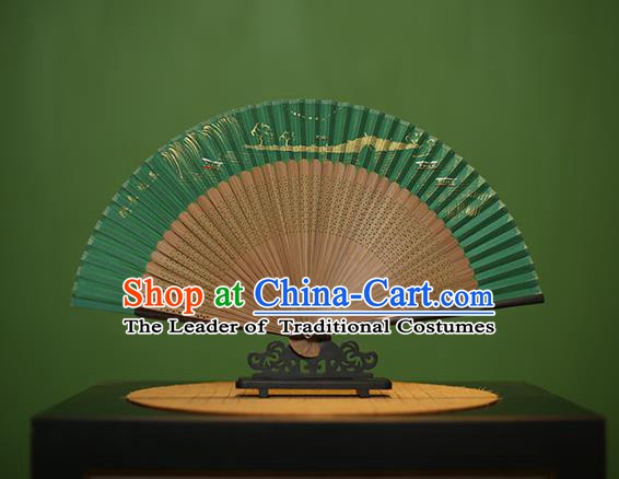 Traditional Chinese Crafts Hand Painting Leifeng Pagoda Green Silk Folding Fan, China Handmade Bamboo Fans for Women