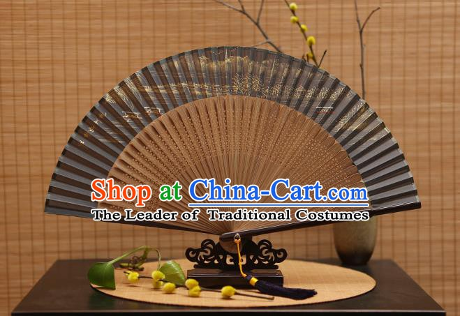 Traditional Chinese Crafts Hand Painting Leifeng Pagoda Grey Silk Folding Fan, China Handmade Bamboo Fans for Women