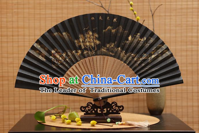Traditional Chinese Crafts Hand Painting Black Silk Folding Fan, China Handmade Bamboo Fans for Women