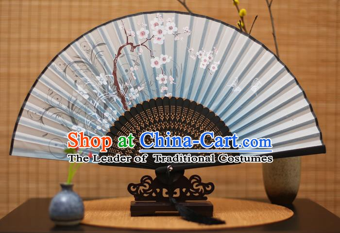 Traditional Chinese Crafts Printing Plum Blossom Blue Folding Fan, China Handmade Bamboo Fans for Women
