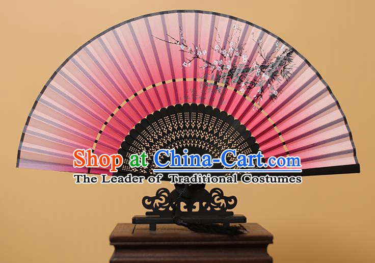 Traditional Chinese Crafts Printing Wintersweet Rosy Folding Fan, China Handmade Bamboo Fans for Women