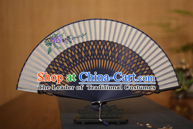 Traditional Chinese Crafts Printing Flower Folding Fan, China Handmade Bamboo Fans for Women