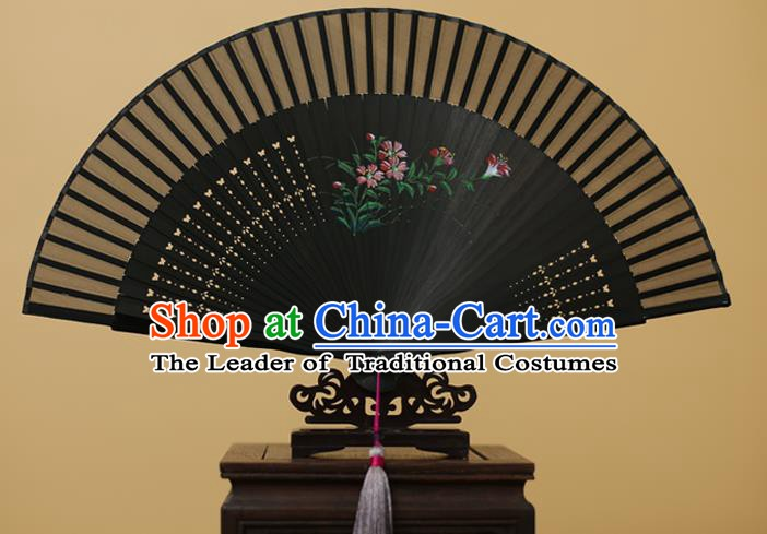 Traditional Chinese Crafts Printing Flowers Silk Folding Fan, China Handmade Bamboo Fans for Women