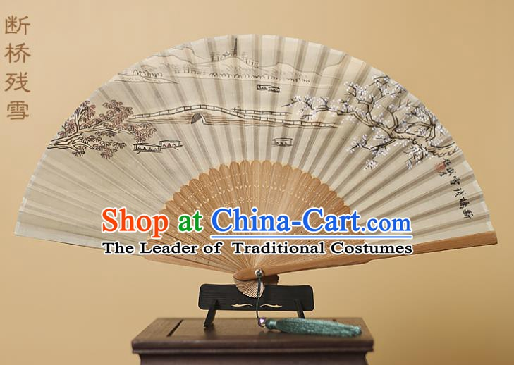 Traditional Chinese Crafts Printing Melting Snow at Broken Bridge Silk Folding Fan, China Handmade Bamboo Fans for Women