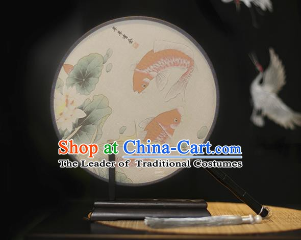 Traditional Chinese Crafts Printing Lotus Fish Silk Round Fan, China Palace Fans Princess Circular Fans for Women