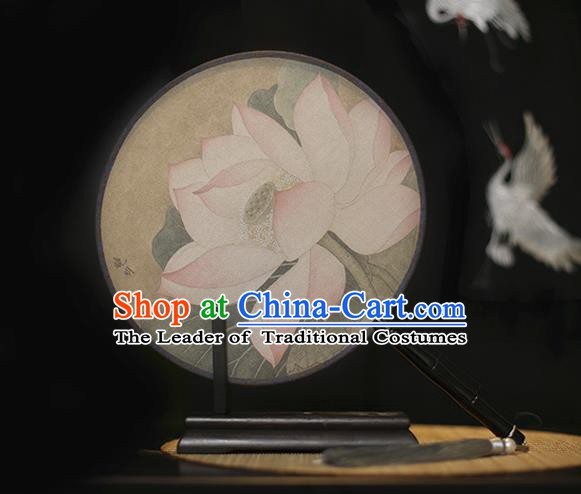 Traditional Chinese Crafts Printing Pink Lotus Silk Round Fan, China Palace Fans Princess Circular Fans for Women