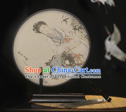 Traditional Chinese Crafts Printing Lin Daiyu Silk Round Fan, China Palace Fans Princess Circular Fans for Women