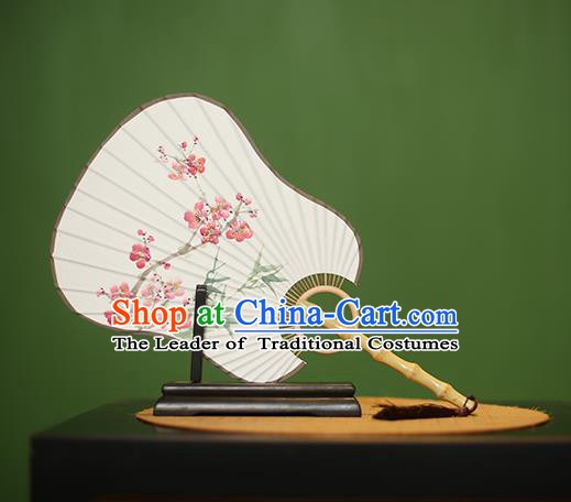 Traditional Chinese Crafts Printing Peach Blossom Paper Fan, China Palace Fans Princess Cattail Leaf Fans for Women