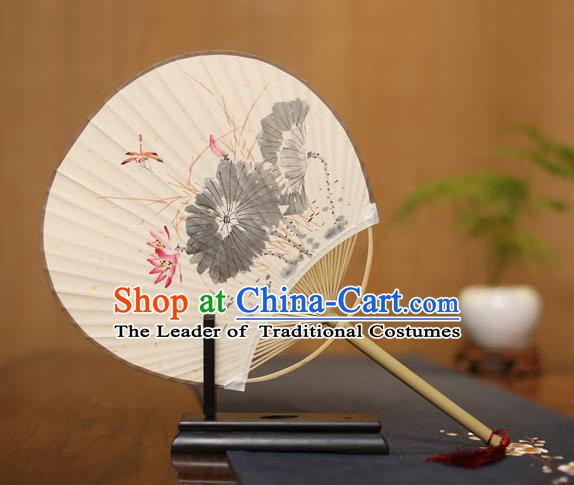 Traditional Chinese Crafts Ink Painting Lotus Paper Fan, China Palace Fans Princess Round Fans for Women