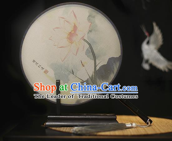 Traditional Chinese Crafts Printing Lotus Silk Round Fan, China Palace Fans Princess Circular Fans for Women