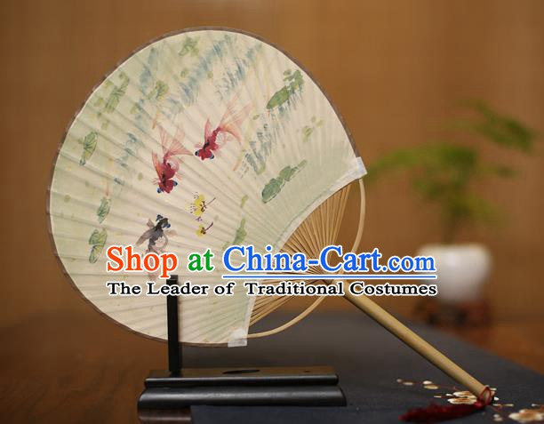 Traditional Chinese Crafts Ink Painting Goldfish Paper Fan, China Palace Fans Princess Round Fans for Women