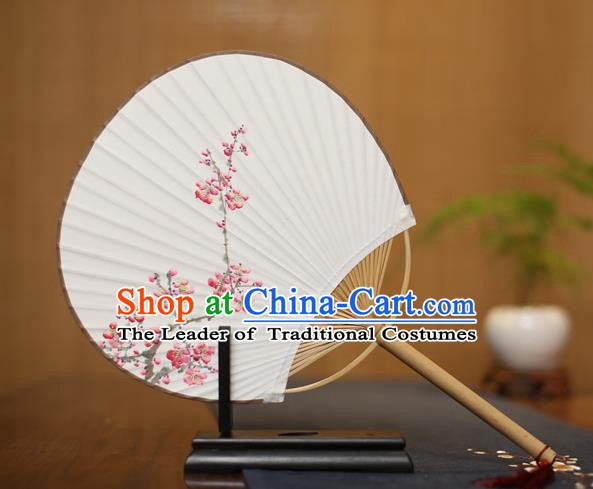Traditional Chinese Crafts Ink Painting Wintersweet Paper Fan, China Palace Princess Fans for Women