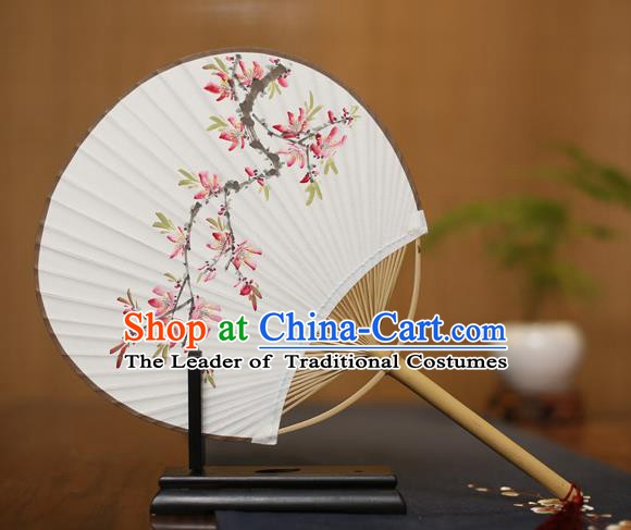 Traditional Chinese Crafts Ink Painting Peach Blossom Paper Fan, China Palace Princess Fans for Women