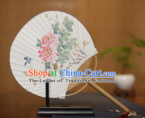 Traditional Chinese Crafts Ink Painting Peony Paper Fan, China Palace Princess Fans for Women