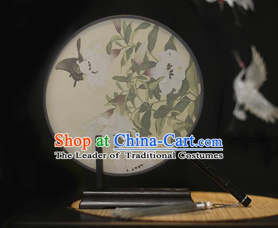 Traditional Chinese Crafts Printing Flowers Butterfly Silk Round Fan, China Palace Fans Princess Circular Fans for Women