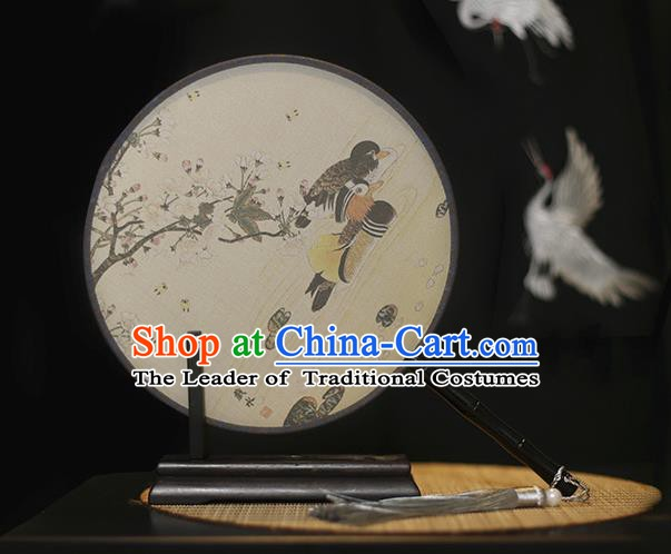 Traditional Chinese Crafts Printing Mandarin Duck Silk Round Fan, China Palace Fans Princess Circular Fans for Women
