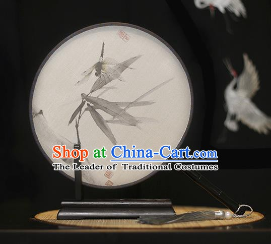 Traditional Chinese Crafts Printing Dragonfly Silk Round Fan, China Palace Fans Princess Circular Fans for Women