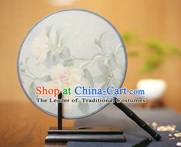 Traditional Chinese Crafts Printing Peony Flowers Silk Round Fan, China Palace Fans Princess Circular Fans for Women