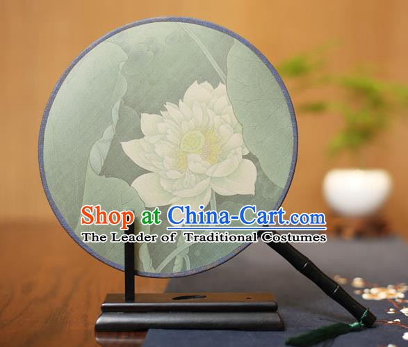 Traditional Chinese Crafts Printing Lotus Flowers Silk Round Fan, China Palace Fans Princess Circular Fans for Women