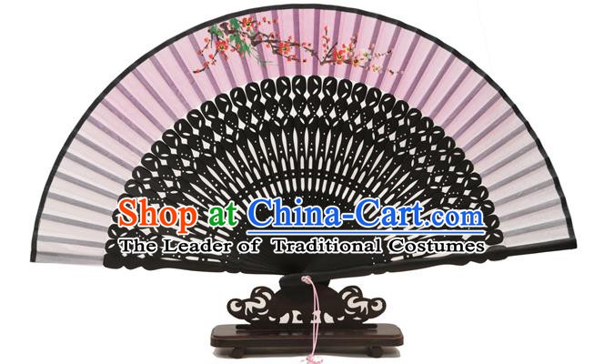 Traditional Chinese Crafts Pink Silk Folding Fan, China Handmade Printing Plum Blossom Fans for Women