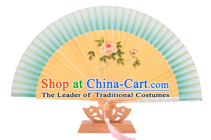 Traditional Chinese Crafts Green Silk Folding Fan, China Handmade Printing Peony Bamboo Fans for Women
