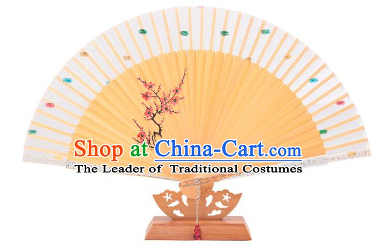 Traditional Chinese Crafts White Silk Folding Fan, China Handmade Printing Wintersweet Bamboo Bone Fans for Women