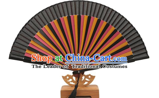 Traditional Chinese Crafts Black Silk Folding Fan, China Handmade Bamboo Bone Fans for Women