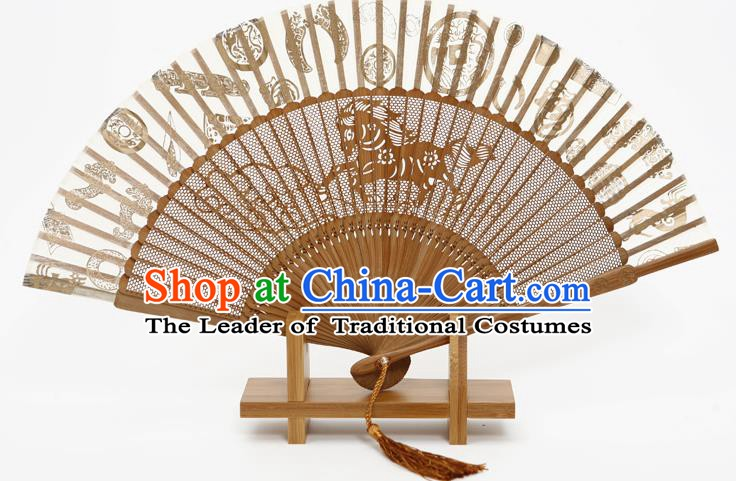 Traditional Chinese Crafts Hollow Out Horse Folding Fan, China Handmade Sandalwood Fans for Women