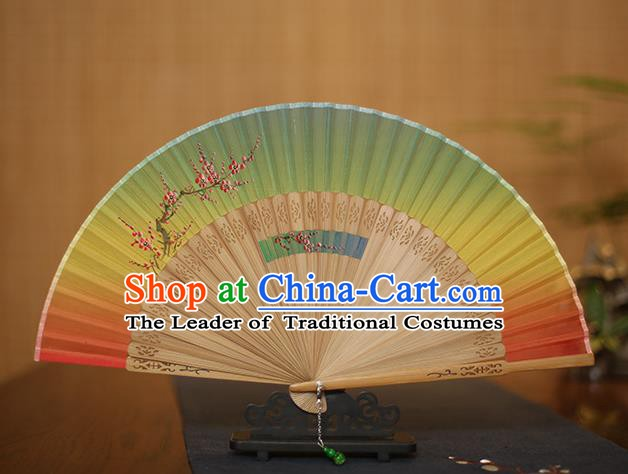 Traditional Chinese Crafts Printing Plum Blossom Folding Fan, China Handmade Classical Silk Fans for Women