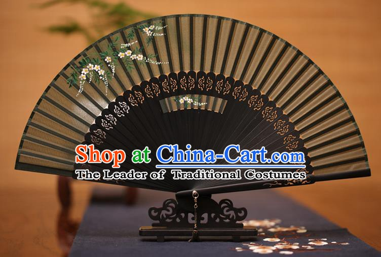 Traditional Chinese Crafts Printing Flowers Folding Fan, China Handmade Classical Black Silk Fans for Women