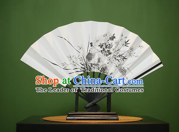 Traditional Chinese Crafts Printing Orchid Chrysanthemum Paper Folding Fan, China Handmade Classical Fans for Women
