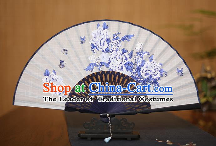 Traditional Chinese Crafts Printing Peony Folding Fan, China Handmade Classical White Fans for Women