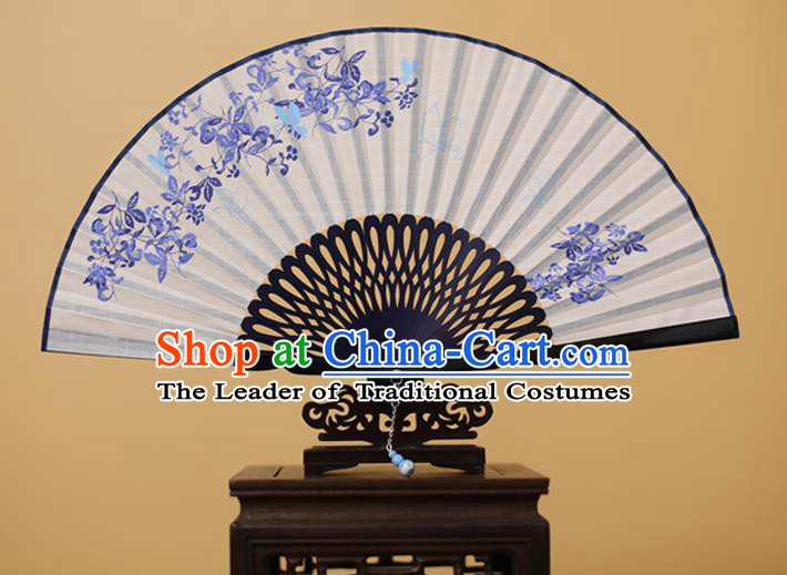 Traditional Chinese Crafts Printing Folding Fan, China Handmade Classical White Fans for Women