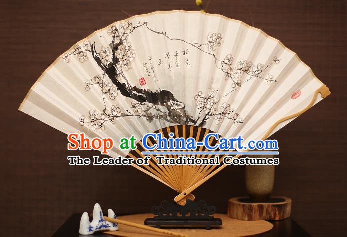 Traditional Chinese Crafts Collectables Autograph Folding Fan, China Handmade Classical Printing Plum Blossom Xuan Paper Fans for Men