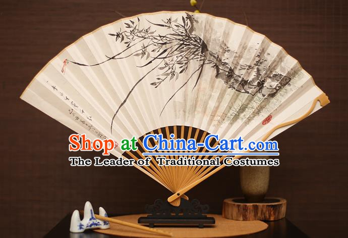 Traditional Chinese Crafts Collectables Autograph Folding Fan, China Handmade Classical Printing Willow Xuan Paper Fans for Men