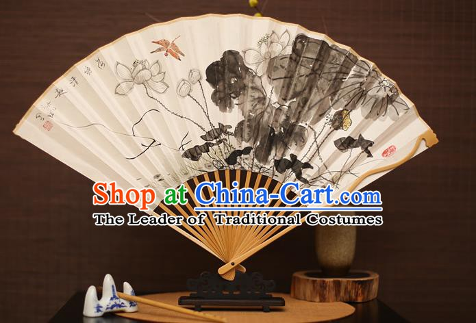 Traditional Chinese Crafts Collectables Autograph Folding Fan, China Handmade Classical Ink Painting Lotus Xuan Paper Fans for Men