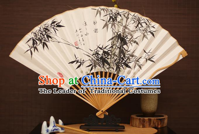 Traditional Chinese Crafts Collectables Autograph Folding Fan, China Handmade Classical Ink Painting Bamboo Xuan Paper Fans for Men