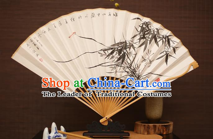 Traditional Chinese Crafts Collectables Autograph Folding Fan, China Handmade Classical Ink Painting Orchid Bamboo Xuan Paper Fans for Men