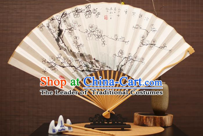 Traditional Chinese Crafts Collectables Autograph Folding Fan, China Handmade Classical Ink Painting Wintersweet Xuan Paper Fans for Men