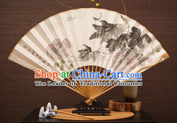 Traditional Chinese Crafts Collectables Autograph Folding Fan, China Handmade Classical Ink Painting Flowers Xuan Paper Fans for Men