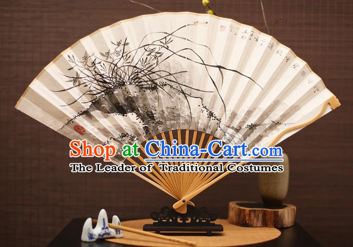 Traditional Chinese Crafts Collectables Autograph Folding Fan, China Handmade Classical Ink Painting Orchid Xuan Paper Fans for Men