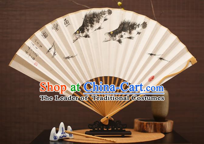 Traditional Chinese Crafts Collectables Autograph Folding Fan, China Handmade Classical Ink Painting Fishes Xuan Paper Fans for Men