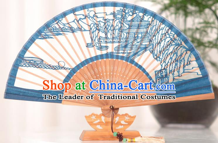 Traditional Chinese Crafts West Lake Scenery Folding Fan, China Handmade Classical Blue Silk Fans for Women