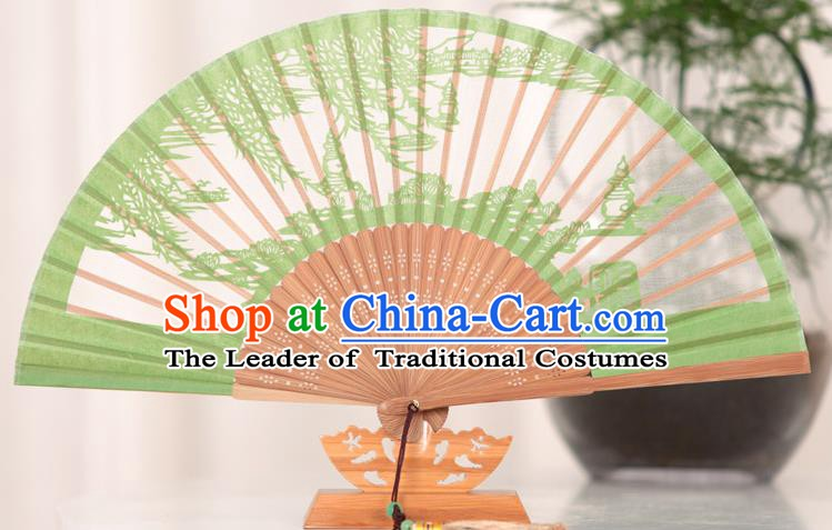 Traditional Chinese Crafts West Lake Scenery Folding Fan, China Handmade Classical Green Silk Fans for Women