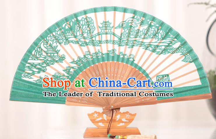 Traditional Chinese Crafts West Lake Scenery Folding Fan, China Handmade Classical Silk Fans for Women