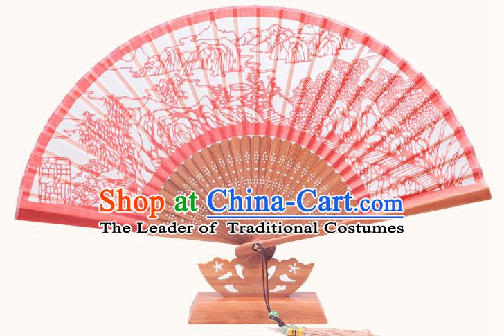 Traditional Chinese Crafts Night Bell In Nanping Mountain Folding Fan, China Handmade Classical Red Silk Fans for Women
