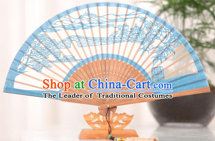 Traditional Chinese Crafts Melting Snow at Broken Bridgen Folding Fan, China Handmade Classical Blue Silk Fans for Women