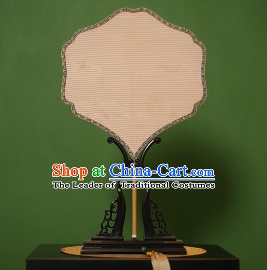 Traditional Chinese Crafts Lace Palace Fan, China Handmade Princess Palm-Leaf Fans for Women